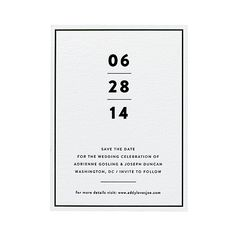 """A minimalist save-the-date card. what it says about you: """"we like our martinis dry, straight up, and with two olives."""" you'll dig this if you're planning a Wedding Invitation Inspiration, Modern Wedding Invitations, Wedding Invitation Design, Logo Inspiration, Wedding Stationery, Letterpress Save The Dates, Letterpress Invitations, Save The Date Invitations, Event Invitations"""