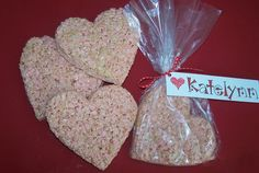 """Krispie Treat Hearts: """"A few drops of almond extract and some red food coloring will have them flocking to be your sweetheart."""" –Tinkerbell via Food.com  Get Tinkerbell's Krispie Treat Hearts recipe>>  Find more ideas on our Edible Valentines Pinterest board.  Photo Source: Food.com via  Tinkerbell"""