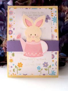Bunny Rabbit Birthday Invitation Spring time by TooCuteInvites, $30.00