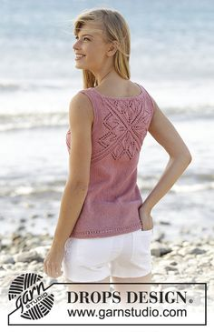 "Butterfly Heart Top - Knitted DROPS top with lace pattern and V-neck in ""Belle"". Worked top down. Size: S - XXXL. - Free pattern by DROPS Design"