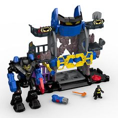 The usual suspects are stirring up trouble in Gotham City. To the Robo Batcave, Batman! Turn the 1st Power Pad to open the gate, raise the Bat-shaped head and reveal the Batbot. (The Batman figure fits inside!) Turn the 2nd Power Pad on the bottom of the play set to move the Batbot forward and march him into any crime-fighting adventure young wannabe DC Super Heroes can think up! In an all-out battle with Gotham City villains? Just turn the 3rd Power Pad to swing the Batbot's arm that can be…