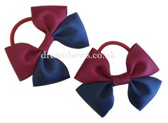 Navy blue and burgundy grosgrain ribbon hair bows on thick bobbles - www.dreambows.co.uk girls ribbon hair bows, hair accessories, hair bobbles, girls hair, hair styles, fashion for girls, girls hair, hair bows for girls, uk hairbows