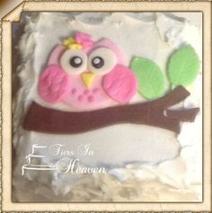 OWL CAKE TOPPERFondant owl birthday Baby Shower cake topper Edible cake decorations on Etsy, $15.00