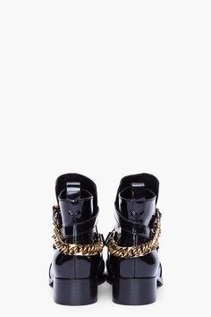 MCQ Alexander McQueen Black Patent Paddock Boots