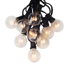 Struny G40 Globe Ciąg Światła z 25 Jasnych Żarówek, 25Ft UL wymienione na Kryty i Odkryty Światła dekoracji ogród, Taras, Party