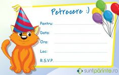 Invitatii petrecere copii - SuntParinte.ro In Natura, Cat Colors, Rsvp, Pikachu, Fictional Characters, Fantasy Characters