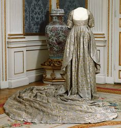 Coronation Gown and Train: 1800, Swedish. Worn by Queen Fredrika av Sverige at her coronation at St. Olav's Church on April 4, 1800.