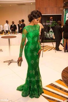 Green satin long sleeve dress with French lace overlay!  I love this because jade green is my favourite colour. Could be worn with gele (white or silver)  #asoebi #isabis