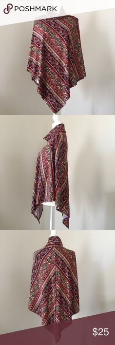 Poncho Beautiful colors and buttery soft feel! Comfortable size turtle neck. Made of 90% polyester and 10% spandex. Poncho falls very nicely over your shoulders. Sweaters Shrugs & Ponchos