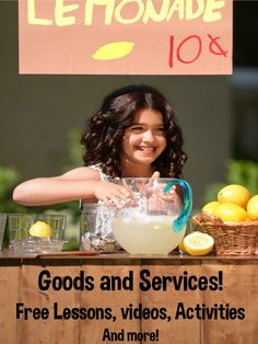 """Kids love to learn about goods and services! After all, it's all about buying """"stuff"""", earning money and learning how money works. This post includes free resources that will save you lots of time!"""
