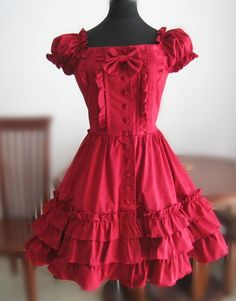 Red Puffy Sleeves Bows Lolita Dress $67.99-Cotton Lolita Dresses ...