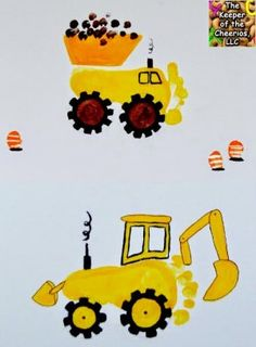 The Keeper of the Cheerios: Construction Site Footprint Craft Missing Kindergarten Crafts, Daycare Crafts, Baby Crafts, Toddler Crafts, Preschool Crafts, Toddler Activities, Crafts For Kids, Transportation Crafts, Construction Crafts