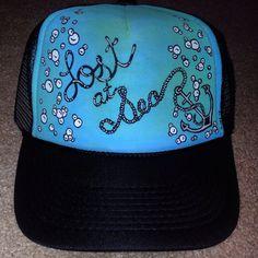 Handpainted Lost at Sea Trucker Hat by JulesJewelsJewelry on Etsy, $25.00