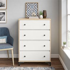 Karan Twin Platform Bed with Shelves Chest Of Drawers, Dresser Drawers, Furniture, 4 Drawer Dresser, Dresser As Nightstand, Metal Drawers, Stylish Beds, White Room, Bed Shelves