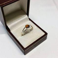 174 mm Ring Silber 835 Tigerauge Vintage SR818