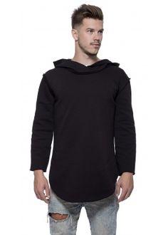 3/4 Long hoody black