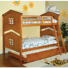 Furniture & Design :: Childrens Furniture :: Bunk Beds :: Castle Pines Oak Wood Finish Doll House Motif Twin over Twin Bunk Bed Set Bunk Bed Sets, Bunk Bed With Trundle, Cool Bunk Beds, Twin Bunk Beds, Kids Bunk Beds, Twin Twin, Wood Bunk Bed With Stairs, Solid Wood Bunk Beds, Traditional Bunk Beds