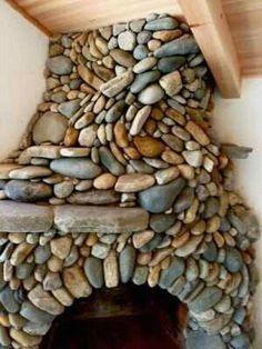 riverstone-clad fireplace
