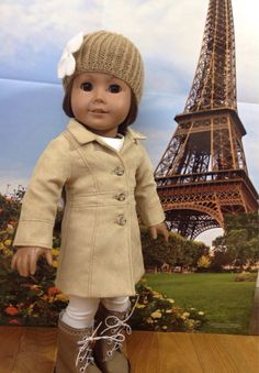 Another great example of the Liberty Jane Le Marais Coat Pattern made by SewSmallNSweet designed to fit 18 inch dolls like American Girl! Find the PDF doll clothes pattern at Pixie Faire: http://www.pixiefaire.com/collections/liberty-jane/products/le-marais-coat-18-doll-clothes