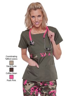 Tafford Solid Olive With Posh Pink Camo Trim Scrub Top