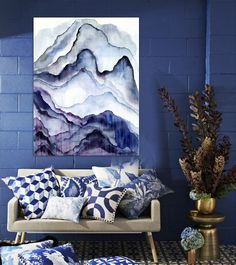 Modern abstract painting hand-painted watercolor mauve mountain scenery living room office bedroom wall art canvas