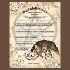 WOLF MYTHOLOGY, Digital Download,  Book of Shadows Page, Grimoire, Scrapbook, White Magick, Wiccan, Witchcraft,