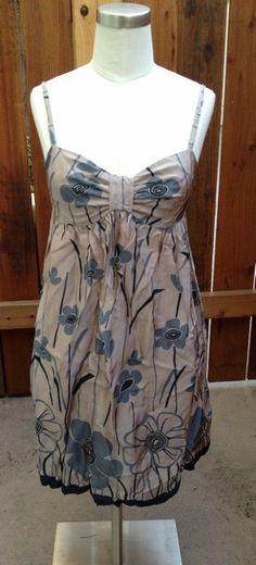 Sweet Blue Beige Flower British Top Shop Floral Tan Sun Dress Size 6 XS | eBay