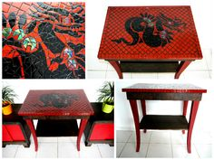Furbished art deco table with glass mosaic decoration. Red Dragon, Dragon Art, Mosaic Designs, Deco Table, Mosaic Glass, Furniture Design, Tables, Art Deco, Kids Rugs