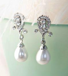 1920s Bridal Pearl Earrings, Rhinestone Chandelier Earrings, Crystal Dangle Earrings, Wedding , Ivory, White - CLARA via Etsy