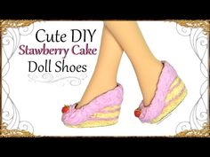 How to; Cute Strawberry Cake Doll Shoes - Polymer Clay Craft Tutorial - YouTube