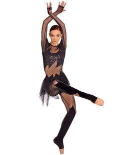 Contemporary, lyrical or jazz versatile jumpsuit has long mesh sleeves, micro sequin upper bodice and velvet on the legs. Attached jagged edged mesh skirt. Girls Dance Costumes, Dance Outfits, Dance Team Shirts, Aerial Costume, Circus Costume, Cabaret Costumes, Tutu Skirt Women, Ghost Costumes, Ballet Fashion