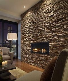 Eldorado Stone, Castaway Stacked Stone – contemporary – living room – new york -… – Stone fireplace living room Inset Fireplace, Stone Fireplace Wall, Stone Fireplace Designs, Mounted Fireplace, Stacked Stone Fireplaces, Modern Fireplace, Fireplace Ideas, Wall Fireplaces, Fireplace Bookcase