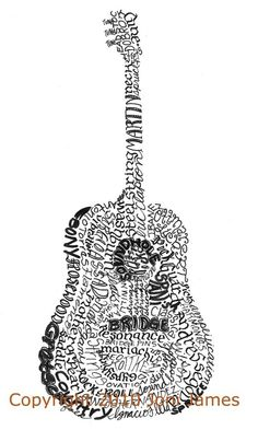 Guitar Calligrams – Cool Artsy Prints  by Jeremy Casey --   Calligrams are designs (like this one) where you arrange words to create a visual image.  on Etsy.com has a bunch of these. shape of the guitar consists of stylistic guitar words like parts (sound hole, tuners, strings, bridge), terms (tremolo, distortion, harmonics)