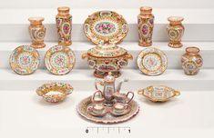 Beautiful hand-painted dollhouse miniature Rose Medallion china table setting pieces by miniaturist Amanda E Skinner.