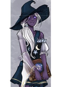 """""""Witch Drow"""" by Alexiel April: ImaginaryWitches - Character Design Club 2019 Witch Characters, Dungeons And Dragons Characters, Fantasy Characters, Female Characters, Cartoon Characters, Female Character Design, Character Design Inspiration, Character Concept, Character Art"""