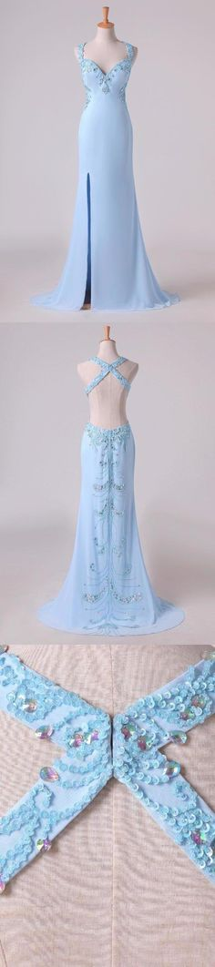 2019 Hot Halter Sheath Prom Dresses With Slit And Beading Chiffon Sweep Train, This dress could be custom made, there are no extra cost to do custom size and color Split Prom Dresses, Wedding Dresses, Elastic Satin, Spring Festival, Slit Dress, Fabric Swatches, Custom Made, Beading, Tulle