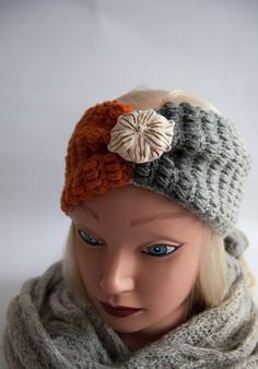 ORANGE Gray knitted headband ear warmer- headband with brooch -turban  headband- wide headband -gift for her Mothers day gift 749060f1d893