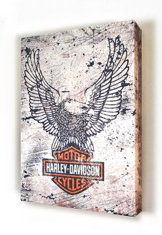 Harley-Davidson® Eagle with Bar & Shield Aluminum Box Art in White with Black A2BX-HARL-CCGPX21