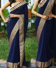Buy Buy Gorgeous Navy Blue Georgette Replica Saree by undefined, on Paytm, Price: Simple Sarees, Trendy Sarees, Stylish Sarees, Designer Sarees Wedding, Latest Designer Sarees, Wedding Sarees, Saree Wearing Styles, Saree Styles, Fancy Sarees Party Wear