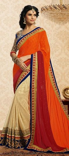 146483, Party Wear Sarees, Embroidered Sarees, Georgette, Jute, Border, Lace, Patch, Machine Embroidery, Sequence, Resham, Orange, Beige and Brown Color Family