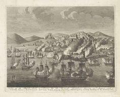 Anonymous | Bombardement van Algiers, 1816, Anonymous, Giovanni Battista Guerrazzi, 1816 | Het bombardement van Algiers in de nacht van 26-27 augustus 1816 door de gecombineerde Engels-Nederlandse vloot, onder commando van Lord Exmouth en jonkheer van Capellen. De geallieerde vloot op de voorgrond, daarachter vlammen en rook van de brandende schepen en gebouwen aan de kust. Daarachter de stad gelegen aan de heuvels aan de kust.