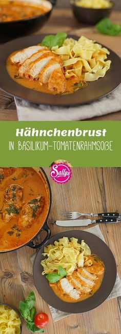 Delicious chicken breast in basil tomato cream sauce.- Leckere Hähnchenbrust in Basilikum-Tomatenrahmsoße. Schnell zubereitet und seh… Delicious chicken breast in basil tomato cream sauce. Quick cooked and delicious chicken dish. Lunch Recipes, Pasta Recipes, Chicken Recipes, Dinner Recipes, Healthy Recipes, Kids Meals, Easy Meals, Tomato Cream Sauces, Yum Yum Chicken