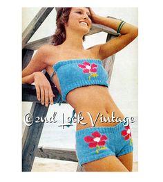 Vintage Knitting Pattern Mod Hip Hugger Bikini by 2ndlookvintage