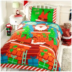 Kids Christmas Bedding perfect for adding a bit of festive sparkle to your child's bedroom this Christmas.  Santas Chimney Christmas Duvet Set – singles duvet cover £12