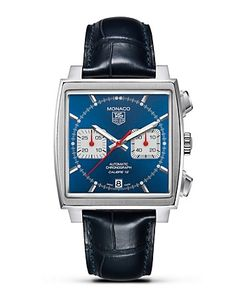 "TAG Heuer ""Monaco"" Square Watch with Alligator Strap, 39mm - Fine Jewelry - Bloomingdale's"
