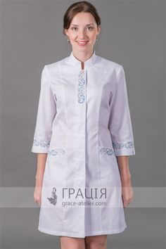 "Медицинский халат ""Барвинок"" Staff Uniforms, Medical Uniforms, Scientist Costume, Spa Uniform, Scrubs Outfit, Lab Coats, Medical Scrubs, Fashion Sewing, Blouse Designs"