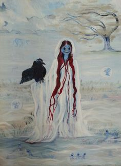 Tell this soul with sorrow laden if, within The distant Aidenn, It shall clasp a sainted maiden whom the angels name Lenore- Clasp a rare and radiant maiden, whom the angles name Lenore? Quoth the raven, Nevermore.  Oilpainting.  80x70