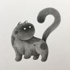 Kitty No.11. 14 Furry Cats and 1 Furry Monkey Drawings. By Kamwei Fong.