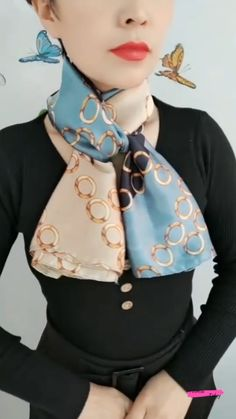 Ways To Tie Scarves, Short Scarves, Ways To Wear A Scarf, How To Wear Scarves, Fashion Scarves, Fashion Outfits, Mode Outfits, Scarf Wearing Styles, Scarf Styles