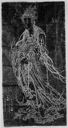 Rubbing of Guanyin from a Ming dynasty stone carving